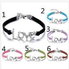 6pcs multi Infinity leather Bracelet Faux Suede Friendship Eternal love