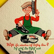 IMMALIN Antikes Karton Plakat um 1925 TOP Schuhcreme Schuhputz Junge KAFFEE FILZ