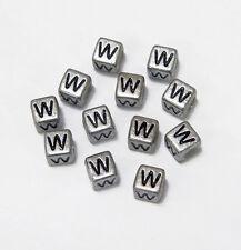 "6mm Silver Metallic Alphabet Beads Black Letter ""W"" 100pc"