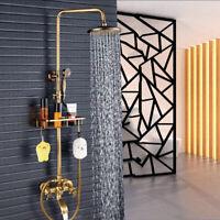 Dusche Wasserhahn System 8 Zoll Runde Regendusche Kopf Handbrause Antik Messing