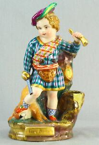 "! Antique ea.1800's Faience Figurine of Scottish Hunter TOM PONCE 7.75"""