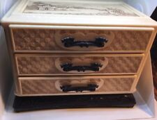 Celluloid Vintage Asian Jewelry Box With Dragon Handles Unique Mint Condition