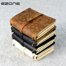 EZONE Carved Flower Cowhide Notebook Genuine Leather Cover Note Book Traveler