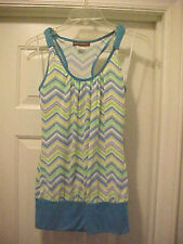 Women's Size S Multi-Color Tank Top Sleeveless By Body Central T-Back Blue Trim
