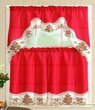 CHRISTMAS TREE AND BELL HOLIDAY RED/BEIGE EMBROIDERED KITCHEN CURTAIN 3 PCS SET