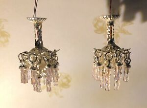 "1:48 1/4"" Scale Dollhouse Miniature Light Crystal Chandeliers w/ 3V LED 0001186"