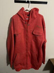 2 Piece Sean John Outfit Sweatsuit Set Hoodie Jacket 2XL Orange/Red EUC