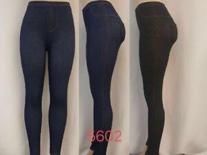 Ladies Stretchy Denim Look Skinny Jeggings Leggings Plus Size 6-26 UK (NEW)