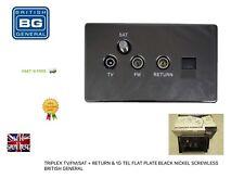 TRIPLEX TV/FM/SAT + Ritorno & 1 G TEL Piatta Nero Nickel Vite
