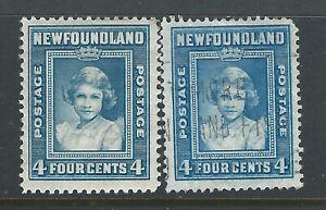 Bigjake: Newfoundland #s 247 & 256,  4 ct. Queen Elizabeth II as Princess