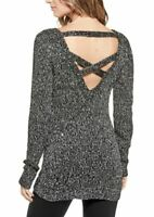 Guess Womens Sz L Quinn Sequin Sweater V Neck Ballet Back Crisscross Straps