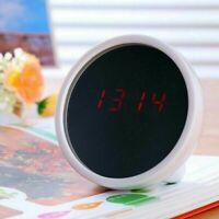 AU Digital Alarm Clock Makeup Mirror Mini Portable Multi-Function LED Display