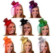 Ladies Mini Glitter Top Hat Headclip Veil Burlesque Hen Fancy Dress Night Party