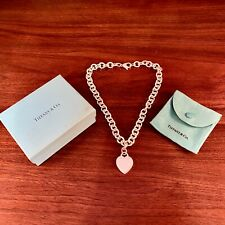 """TIFFANY & CO. STERLING SILVER HEART TAG NECKLACE W/ ORIGINAL POUCH & BOX 18"""""""