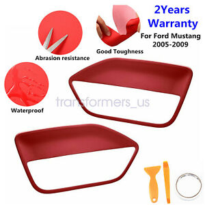 2pcs Leather Door Panel Insert Cards Cover fit for Ford Mustang 2005-2009 RED
