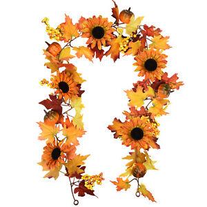 Artificial Fall Maple Leaf Wreath Sunflower Pumpkin Garland Hanging Home Decor