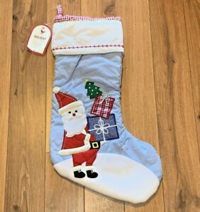 NWT POTTERY BARN KIDS Holiday Santa and Presents Quilted STOCKING No Mono