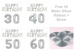 Large Happy Birthday Foil Balloons + Age Number Baloons Air Fill Self Inflating