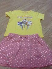 Baby GIRLS TAGLIA 2-3 YELLOW ICE Scream T-shirt & Peach Dotty Gonna-Nuovo di Zecca