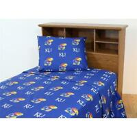 College Covers KANSSTX Kansas Printed Sheet Set Twin XL- Solid