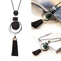 Women Long Tassel Pendant Necklace Wood Bead Charm Ladies Sweater Chain Jewelry