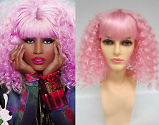 DELUXE NICKI MINAJ LONG PINK CANDY CURLY PERMED AFRO STYLE 80's COSTUME WIG
