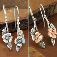 Exquisite 925 Silver Flower Earrings Ear Hook Dangle Drop Women Wedding Jewelry