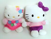 """2 X HELLO KITTY and SANRIO SMILES 8"""" Soft Toy Plush Comforters. Excellent"""