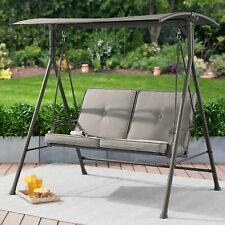 2 Seater Canopy Swing Grey Cushion Outdoor Home Furniture
