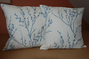 TWO  HANDMADE REVERSIBLE COVERS IN LAURA ASHLEY PUSSY WILLOW SEASPRAY/OFFWHITE
