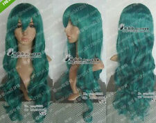 New Anime Sailor Moon Sailor Neptune Long Dark Green Wavy Cosplay Hair Full Wigs