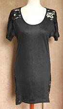 Black Short Sleeve Stretch Mini Dress with Lace Back - Size 12/14 - Yuki