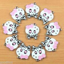 10 pcs Monster High Dolls Inspired Skull w/ Pink Bow Charm Pendants Crafts DIY