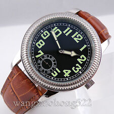 44mm Parnis Black dial Mechanical manual winding 6498 brown leather Watch 074