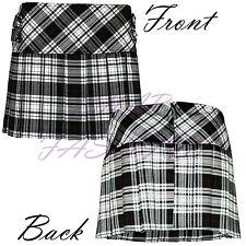 Ladies Womens Tartan All Round Pleated 4 Cover Button Kilt Mini Skirts