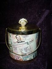 Vintage Retro Double Wall Ice Bucket Decorated in Foreign Currency