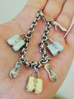 Bracelet femme mailles jaseron/charms  en argent massif