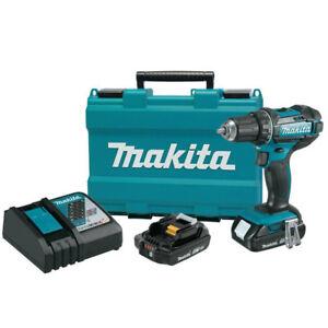 "Makita XFD10R-R 18V LXT Compact Cordless 1/2"" Driver‑Drill Kit, 2.0Ah"