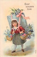 D80/ Valentine's Day Love Holiday Postcard c1910 Girl Large Letter Love 16