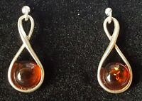 Sterling silver & amber vintage Art Deco antique pair of earrings