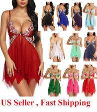 Sexy-Lingerie-Women-Silk-Lace-Robe-Dress-Babydoll--Nightgown-Sleepwear