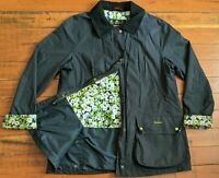 Women's Barbour Beadnell Waxed Cotton Jacket Size 14 US 18 UK Navy Black Collar