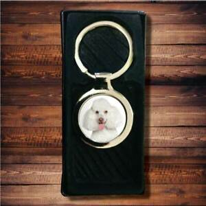 Poodle Dog Pet Printed Chrome Gel Chunky Domed Quality Metal Keyring
