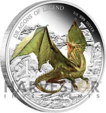 2012 AUSTRALIAN DRAGONS OF LEGEND - EUROPEAN GREEN DRAGON SILVER COIN 1 OZ..