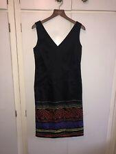 East John Lewis Size 8 Black Dress Multi Coloured Pattern On Bottom BN