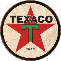 Texaco 1936 Logo Vintage Round Metal Sign, 11.75 x 11.75 inches