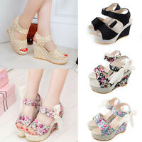 New Womens High Wedge Heel Platform Sandals Ankle Strap Summer Ladies Shoes Size