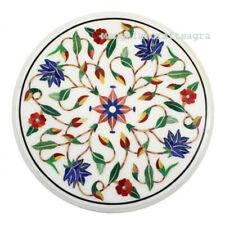 "12"" Round Marble Side Table semi precious stones inlay Handmade Home Decor"