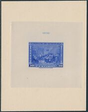 VENEZUELA #C314P 30¢ BRT BLUE DIE PROOF ON INDIA ON CARD W/ CONTROL # BS3676