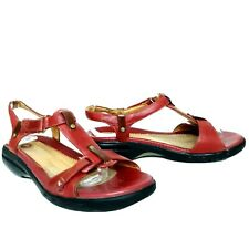 Clarks Unstructured Red Leather T-Strap Sandals Womens 8M Shoes Hook Loop Strap